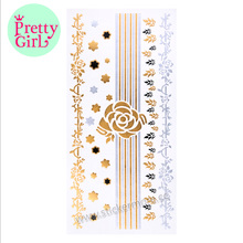 Premium Henna Metallic Tattoos Gold and Silver Flash Temporary Bling Tattoo MTS-010