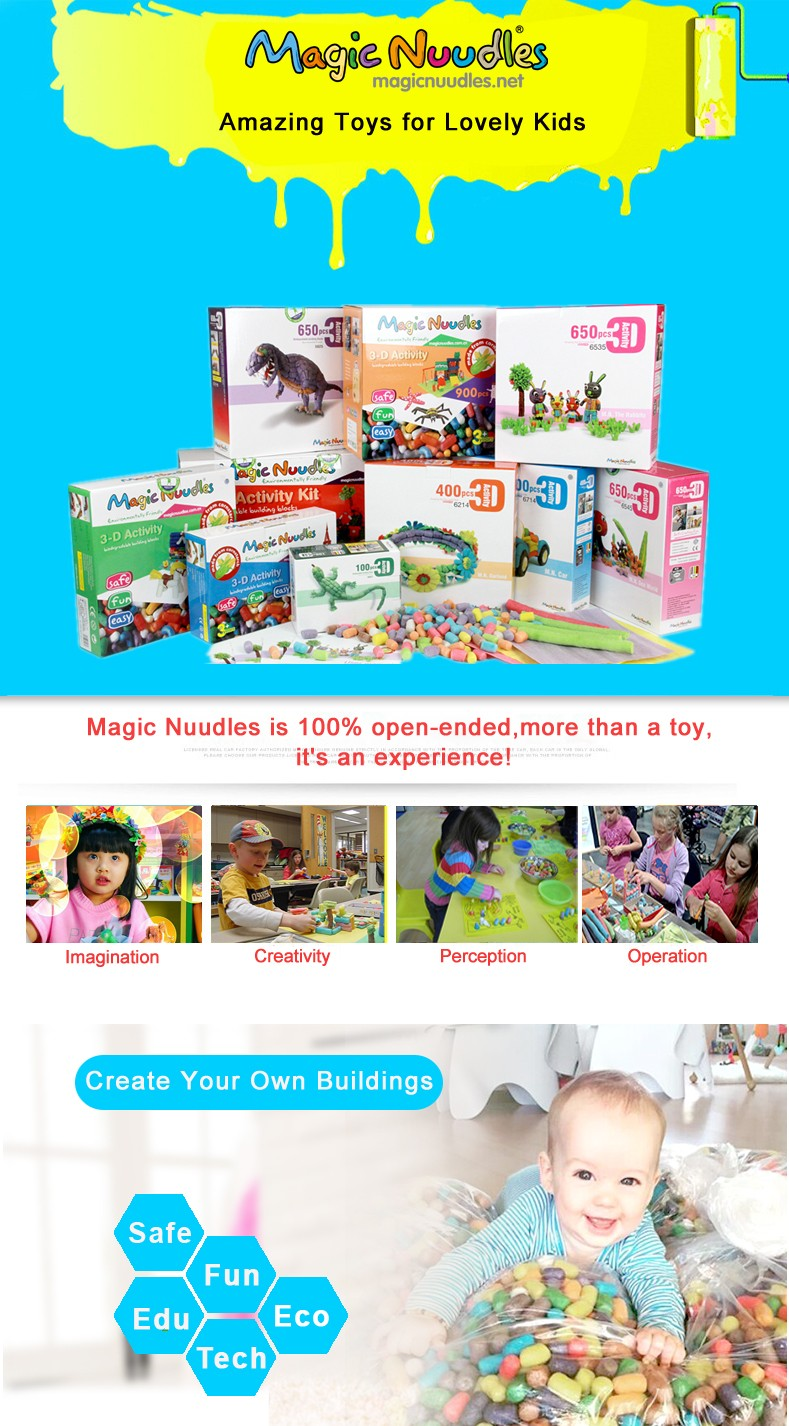 Bold Magic Nuudles 600 pieces - Building Game for Kids Kindergarten Educational Arts and Crafts - Toys for Kids over 3 Years Old