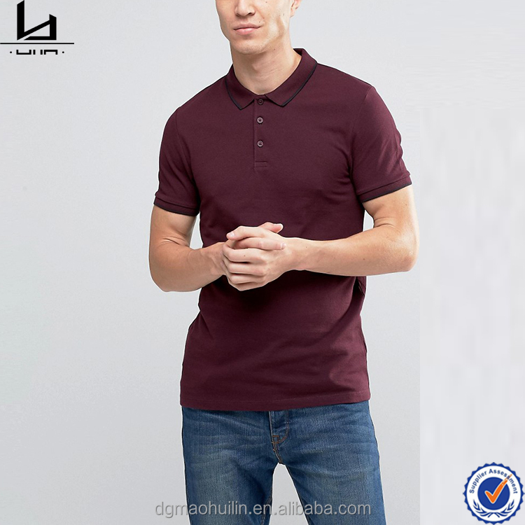 custom t shirt printing muscle pique tipped collar polo shirt men's in oxblood