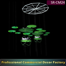 Customize commercial shopping center atrium hanging lotus flower holiday decoration for spring summer scenes