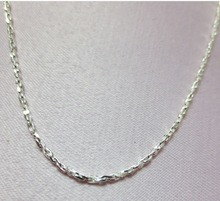 "16"" STERLING SILVER PLATED 1mm SPARKLING TWISTED COBRA COMFORT CHAIN NECKLACE"