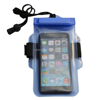 "High Quality Armband PVC Neck String Cellphone Waterproof Bag For mobile phone 5"" 6"""