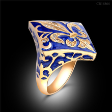 fancy shaped flower engraved brass material jewelry for women and women blue enamel ring