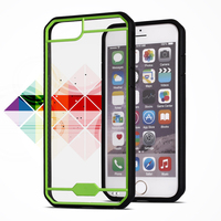 Tpu mobile case For iphone 6 plus clear transparent TPU matte frame PC back cover case