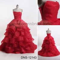 Charming DNS-12143 Red Strapless Sleeveless Hand Made Flower Layered Court Train Organza Ball Prom Gown Evening Dress