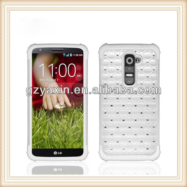 Hottest 3 in 1 hybird crystal diamond case for LG G2,case for 3d lg g2