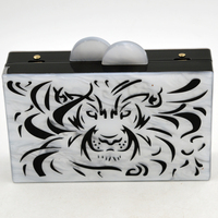 2016 Wholesales Customized Acrylic Clutch Bag Of Tiger Carveing Ladies Clutch Bag