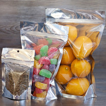 Repacking silver clear mylar pouch food storage with zipper