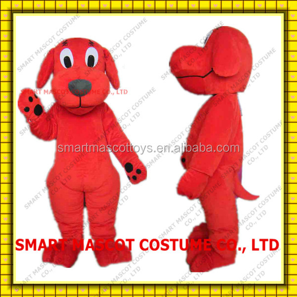 Good visual dog mascot costume in red custom made adult dog mascot costume