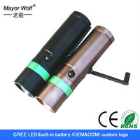 Hand Crank dynamo camping cree LED Flashlight with charger