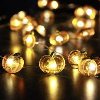 Harvest Pumpkin String Lights 10ft 40 LEDs Battery-powered Indoor/Covered Outdoor/Thanksgiving/Turkey/Baby Shower Parties