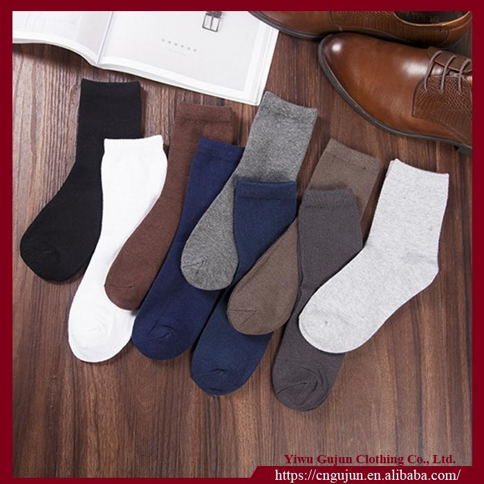 Fashion Men's Solid Color Cotton Business Tube sock
