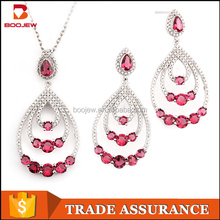 Cheap crystal jewelry set with flowers for weddings perfect design turkish 925 sterling silver jewelry set with great price