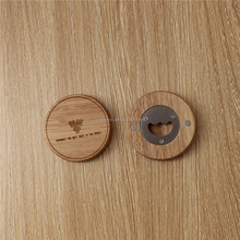 Round Fridge magnet wooden bottle opener wooden coaster with bottle opener