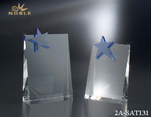 Crystal Inspirational Shield Award Plaque With Blue Star On It