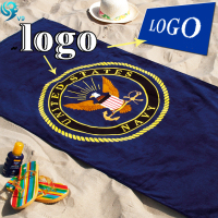 100% cotton reactive print logo custom beach towel