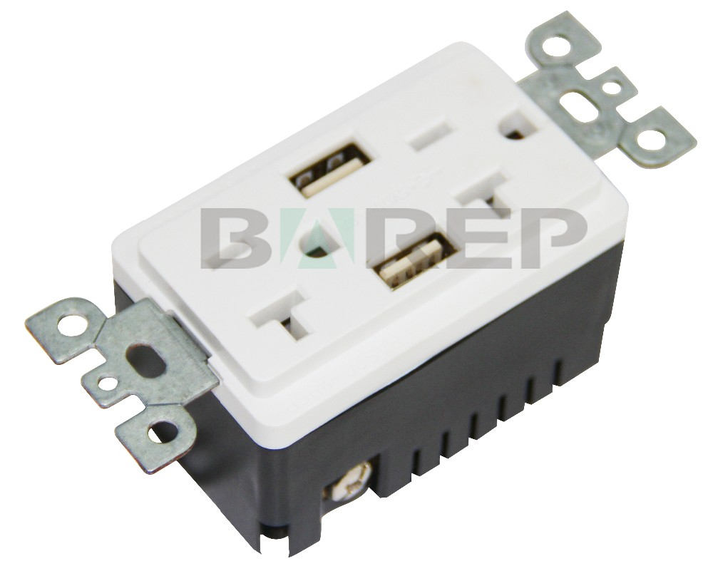 BAS20-2USB American outlet plastic gfci usb wall socket