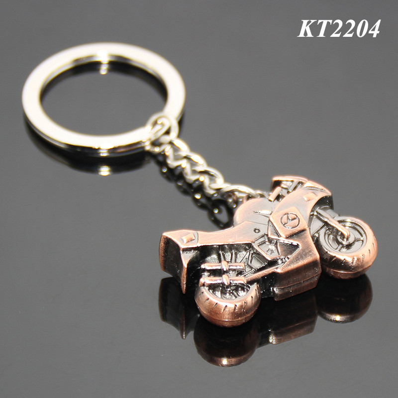 3D Mini Motorbike Shaped Red Bronze Color Metal Motorbike Keychain