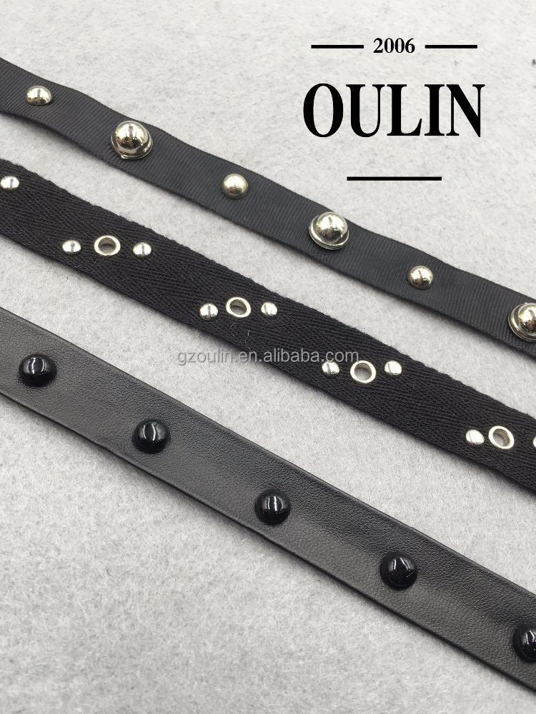 New coming stud lace leather studded lace cotton stud lace trimming for garment accessories