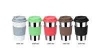 0.36L Stainless steel coffee cup with rubber sleeve and lid