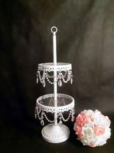 Wholesale! 2 Tiered wedding cake stand with crystal hanging,white cake stand,cake pan for wedding cake