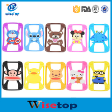 New Universal Silicone Frame bumper 3D Cartoon Minnie Kitty Mobile Phone Bumper For Iphone 4S 5S 6 6 plus Case For Samsung S5 S6
