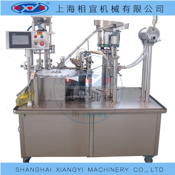 Semi - auto peanut milk soy bean milk standing up spout bag/pouch/bag filling capping machine