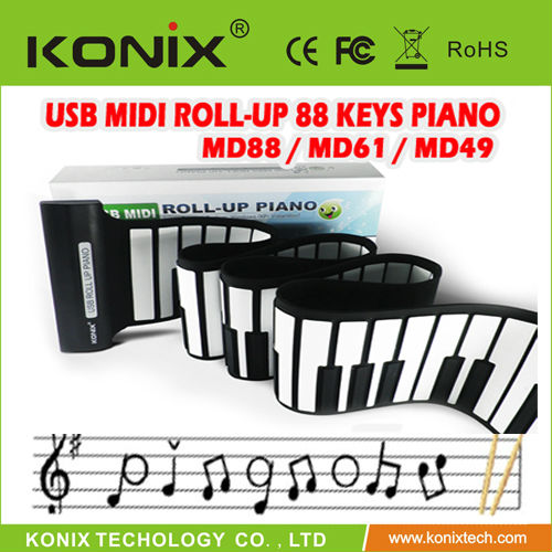 Roll Up Synthesizer Piano with Responsive Keys - Cute & High Quality