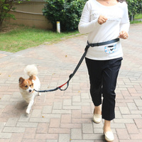 Bungee Running Hand Free Dog Leash with Black Metal Hook