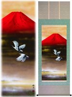 hanging scroll japanese art Red Fuji Crane Fly