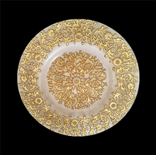 Clear Glass Charger Plates With Flower Design Wedding Party Gold Glass Under Plates Decoration