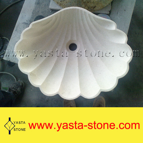 Unique Shell Shaped Beige Marble Bathroom Sink
