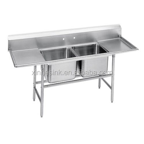 2 Two Bowl Commercial Stainless Steel Compartment Sink with Double Drainboard