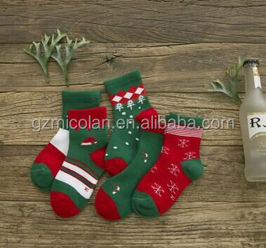 Pure Cotton Cartoon Jacquard Socks Red Christmas Baby Socks