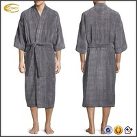 Ecoach Wholesale OEM Men's Long Sleeve Self-tie Sash Cinches Waist Two-patch pockets Velour Kimono Style Robe