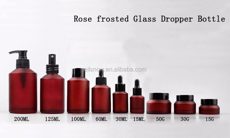 15|30|60|100ML Rose frosted Glass Dropper Bottle|Perfume bottle Serum Travel Mini Portable Empty , Can be pr