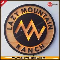 GlowDisplay Acrylic Wooden Ranch Logo LED Backlighting Wall Art Sign