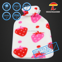 Cheap strawberry printed fleece cover for hot water bottle