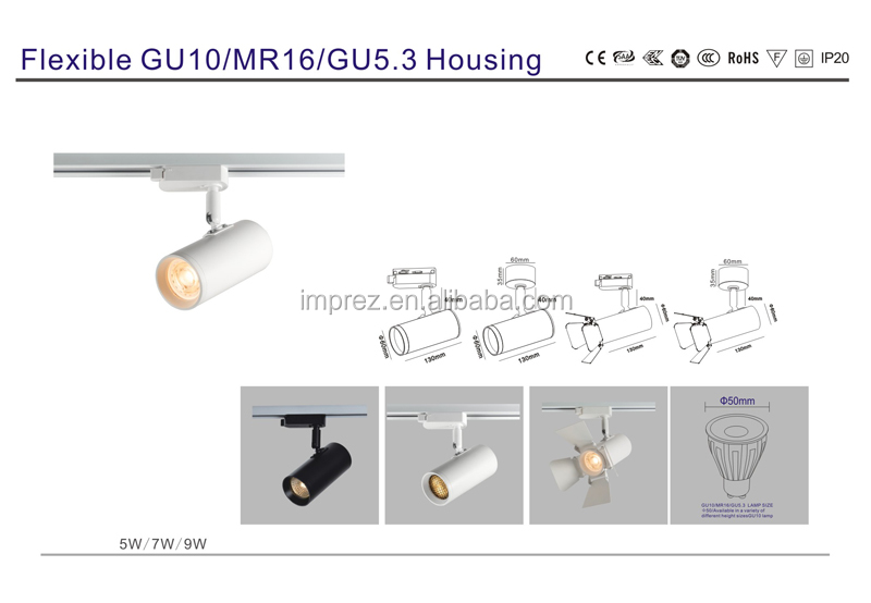 5W 7W 9W led track spotlight with GU10 lamp  ceiling light fixture gu10 aluminum led track light for gallery  museum lighting