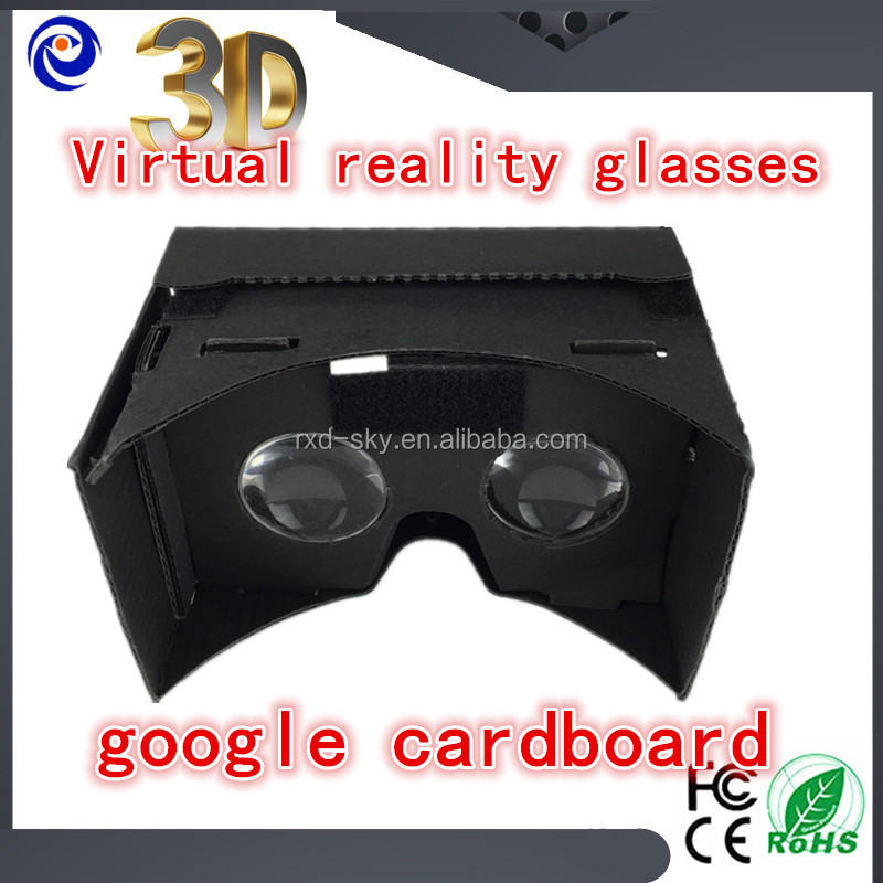 Thick corrugated Black custum Google Cardboard diy Virtual reality 3D glasses NFC Box-style VR with headband Holiday gifts
