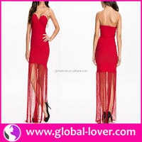 Paypal accepted hot red tube bodycon tassel evening dress 2014