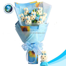 2016 LOW MOQ cartoon flower bear bouquet fashion cute soft plush rabbit birthday bouquet flower