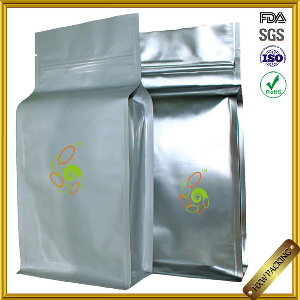 #9527 Flat Bottom Stand Up Dried Herb Packaging Bag,Square Bottom Paper Pouch For Tea Packaging