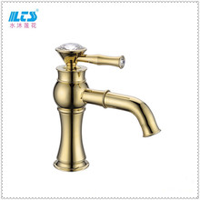 2016 New style brass long neck basin mixer solid gold faucet made in China