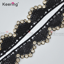 Popular Gold Eyelet/Grommet Black Lace Trim Wholesale WTPG-091