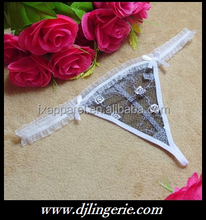 White embroidered see through mesh g-string lovely