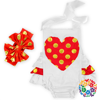 Wholesale Children's Boutique Clothing Red Heart Printed Baby Romper Popular Christmas Romper With Headband