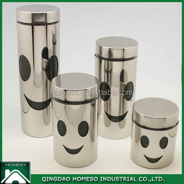 2016 new product 600ml stainless steel glass food canister