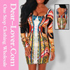 womens plus size Paradise Luxe Multicolor Mirrored Illusion print dress