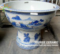 Large Jingdezhen Blue and White Porcelain Ceramic Pedestal Fish Pot Bowl For Wholesale and Retail